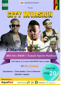 Shatta Wale, Bisa Kdei, Tiffany and others join J Martins and Selebobo for 'City Invasion' concert in Tamale
