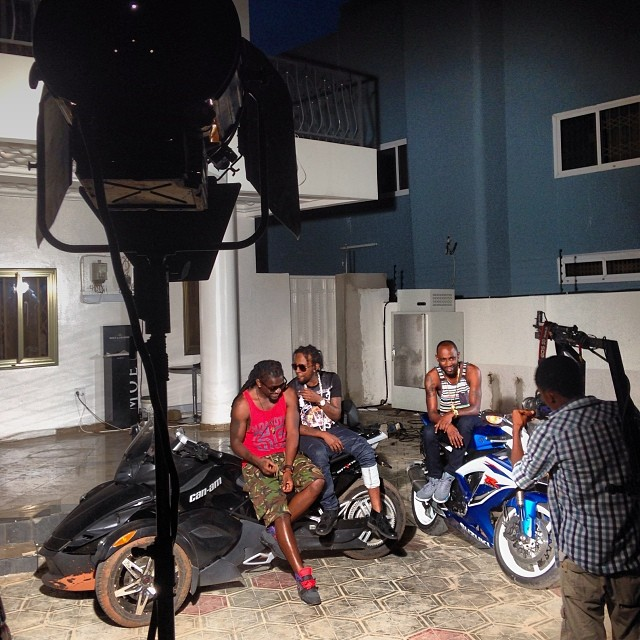 Samini shoots new music video with Jamaican act, Popcaan