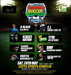 D-Black, Shatta Wale, E.L, R2Bees, Samini, YFM, Castro and Tinny in Celebrity Soccer for Charity