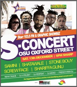 Shatta Wale, Samini, Stonebwoy and others slated for Starr 103.5 FM S-Concert