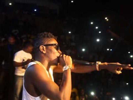 Shatta Wale performing Ah Ghana Mi Say at the Shatta Beach Party