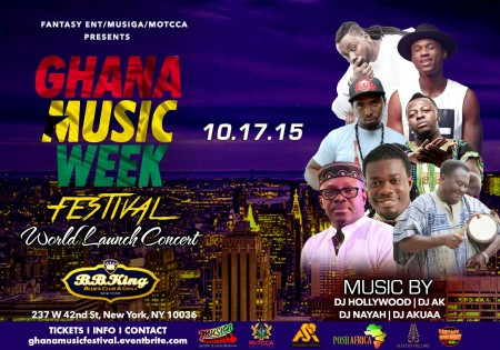 Ghana Music Week Festival World Concert Series launches in New York City, October 17 at B.B. Kings