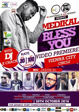 "Medikal to premiere ""Bless You"" Music Video October 30th, 2016"